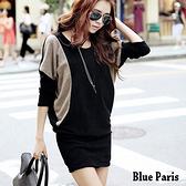 【藍色巴黎】 歐美風拼接寬鬆飛鼠袖包臀連身裙 長版上衣【28147】