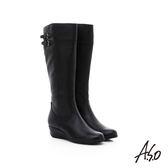 A.S.O 優雅時尚 真皮寬口飾釦拼接楔型長靴  黑