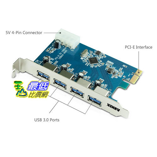 [104美國直購]Anker® Uspeed USB 3.0 PCI-E Express Card with 4 USB 3.0/ 5V 4-Pin Power Connector電腦 擴充卡B005ARQV6U