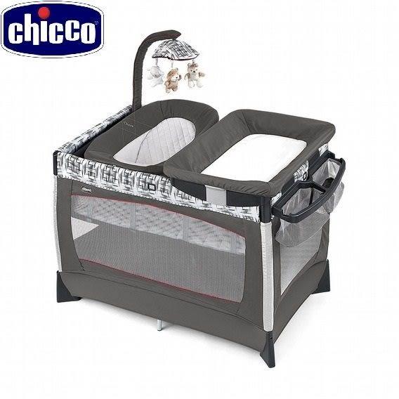 chicco LULLAB Baby多功能豪華遊戲床 織布紋淺灰