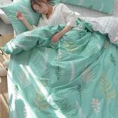 自然系精梳棉床包被套組-雙人-綠葉清新