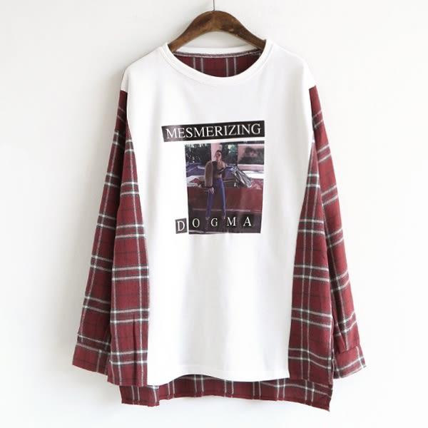 印花T恤拼接格紋襯衫上衣 韓版【88-21-8117-0900-18】ibella 艾貝拉