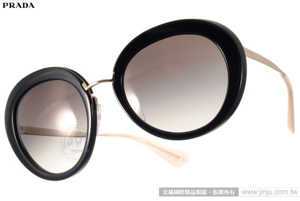 PRADA太陽眼鏡 PR16Q 1AB0A7 (黑-金) 華麗復古風名媛款 # 金橘眼鏡