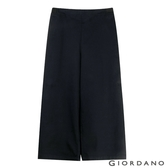 【GIORDANO】女裝鬆緊腰八分寬褲-99 標誌黑