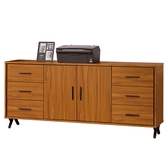 【森可家居】安德里6 尺餐櫃8ZX846 3 文件收納櫃廚房櫃中島碗盤碟櫃木紋 北歐工業風