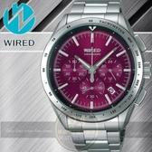 WIRED日本原創飆速三眼計時腕錶-紫紅/44mm VK63-X002R公司貨/禮物/聖誕節