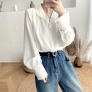 韓版襯衫 0872#法式復古白色襯衫女設計感小眾2020秋韓版寬松長袖上衣MB003-A.1號公館
