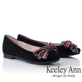★2018秋冬★Keeley Ann都會美感~秀氣蝴蝶結造型全真皮平底鞋(黑色) -Ann系列