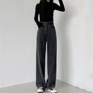 直筒褲 直筒黑色牛仔褲女秋冬新款加絨褲子高腰顯瘦垂墜感拖地闊腿褲 交換禮物