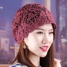 頭巾帽 鏤空帽子女春夏天薄款透氣頭巾帽單層時尚百搭遮白發包頭帽空調帽寶貝計畫 上新