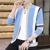 針織衫開衫外衣毛衣豎條紋休閒外套