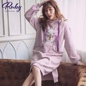 洋裝 兔子荷葉連帽長袖長洋裝-Ruby s 露比午茶