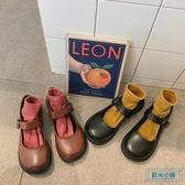 大頭鞋 女皮鞋2019新款洋氣冬加絨英倫風平底學生大頭鞋一字扣帶百搭單鞋 歐米小鋪