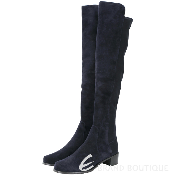 Stuart Weitzman RESERVE 麂皮拼接過膝長靴(深藍色) 1530379-34