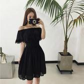 禮服 大碼仙裙 加肥加大遮肚子連身裙 藏肉蕾絲露肩性感小黑裙潮igo coco衣巷