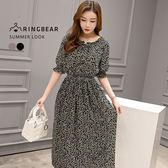雪紡洋裝--韓風甜美氣質一字領小碎花腰部鬆緊長洋裝(藍XL-3L)-D352眼圈熊中大尺碼