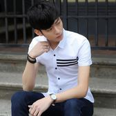 短袖條紋襯衫 夏季男修身休閒襯衣時尚半袖白色《印象精品》t400