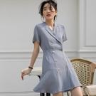 職業洋裝 藍色法式西裝連身裙女夏輕熟風女裝收腰顯瘦氣質女神風職業裙子女-Ballet朵朵