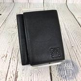 BRAND楓月 LOEWE 經典LOGO 迷你 黑色 皮革 三折 短夾 錢包 零錢包