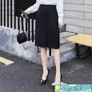 及膝裙 職業直筒半身裙女面試高腰顯瘦包臀工裝及膝a字黑色西裝正裝中裙 快速出貨
