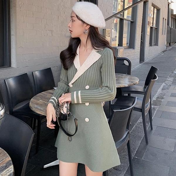 小香風洋裝 復古連衣裙女秋冬新款韓版顯瘦氣質溫柔風長袖針織裙子 - 古梵希