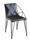 【 IS空間美學】貝德鋼筋黑皮餐椅