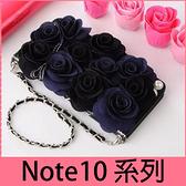 【萌萌噠】三星 Galaxy Note10 Note10+ 韓國立體黑玫瑰保護套 帶掛鍊側翻皮套 支架插卡 手機殼