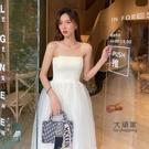 【限時促銷】一字領洋裝 氣質洋裝設計感小眾法式復古溫柔仙女吊帶長裙修身仙氣網紗裙夏