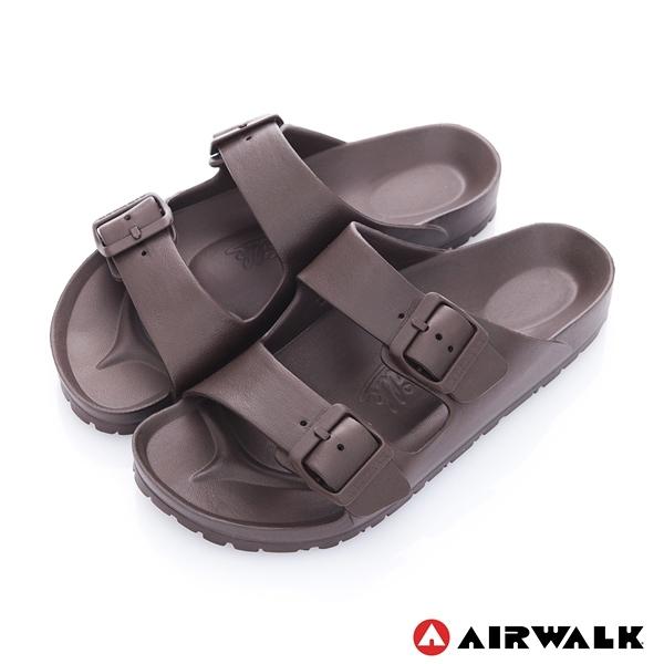AIRWALK AB拖休閒雙扣環多功能室內外拖鞋-咖