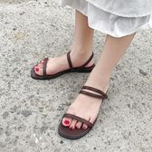 夏季簡約平底涼鞋女露趾平跟交叉細帶羅馬涼鞋學生鞋韓風 奇思妙想屋