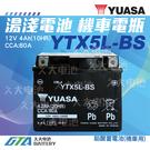 【久大電池】 YUASA 湯淺 機車電瓶 5號 機車電池 YTX5L YTX5L-BS = GTX5L-BS GS 統力