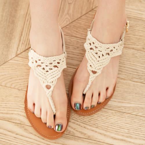 涼鞋 D+AF 純真步調.蕾絲鏤空針織夾腳涼鞋