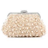 手拿包花朵串珠晚宴小包包鏈條包伴娘新娘手包袋3色gogo購