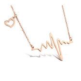 【5折超值價】 【316L西德鈦鋼】最新款特色精美活力心電圖造型女款鈦鋼項鍊