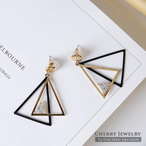 三角水晶撞色耳環  【櫻桃飾品】【10405】