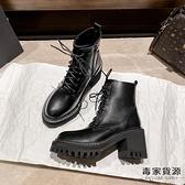 馬丁靴女英倫風粗跟高跟短靴加絨側拉鏈機車靴子【毒家貨源】
