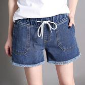 漫步生活☆[B82058] 鬆緊綁帶牛仔短褲(M~3XL)