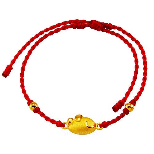 甜蜜約定金飾-好運12生肖-鼠-紅繩黃金手鍊