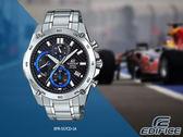 【時間道】CASIO| EDIFICE經典賽車碳纖維錶盤三眼計時腕錶/黑面藍圈鋼帶(EFR-557CD-1A)免運費