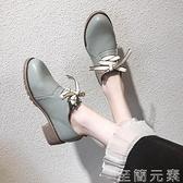 黑色復古小皮鞋女職業工作鞋秋季新款粗跟百搭英倫風中跟單鞋