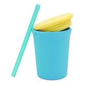 美國silikids果凍餐具-TOGO矽膠吸管杯組12oz-天空藍