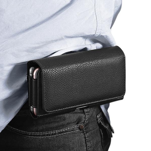 Xmart for iPhone 12 / iPhone 12 Pro 6.1 / 三星 Galaxy S21/ S20 /S10+ 精美實用雙卡槽雙格手機橫式腰掛皮套