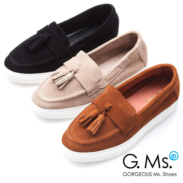 G.Ms. 牛麂皮流蘇莫卡辛厚底鞋*棕色
