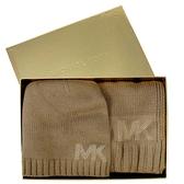 艾莉莎國際【現貨】MICHAEL KORS 水鑽鉚釘LOGO毛帽圍巾禮盒組(駝色)-537817