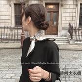 韓國小絲巾職業小領巾北歐簡約氣質小方巾【時尚大衣櫥】