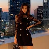 歐媛韓版 兩件式洋裝 套裝兩件式洋氣冬款時尚性感網紗透視打底衫上衣修身吊帶裙