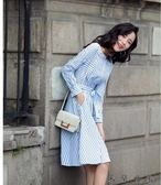 韓版收腰遮肚顯瘦長袖條紋a字裙