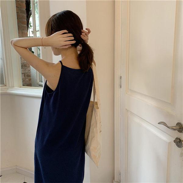 梨卡★現貨 - 直筒顯瘦細肩帶連身長裙連身裙BR274