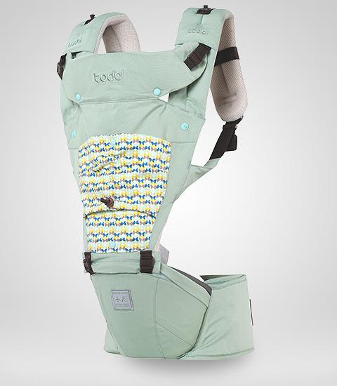 todbi Air Motion Blossom Hipseat Carrier-淺綠色(有 機棉安全氣囊坐墊式揹帶/背巾/揹巾)[衛立兒生活館]
