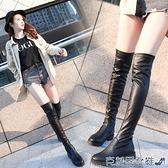 膝上靴 皮靴子女2021秋冬季新款圓頭低跟英倫風騎士靴黑色過膝長靴彈力靴 快速出貨